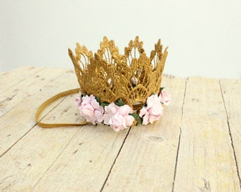 Embellished floral gold crown Girl Baby Flower Crown Princess keepsake Lace crown newborn photography prop cake smash children birthday hat