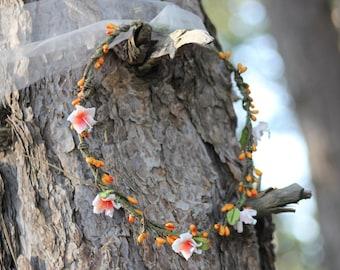 DAKOTA WOODLAND WREATH - Lilies and Orange Berries tiara, crown, headband, headpiece, halo, vintage, country