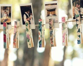 FLORAL CLOTHESPINS - Set of 20 PEGS Wedding Decor - Les fleurs floral vintage Bohemian Escort Card Holders, wooden clothes pins clips