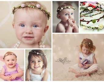 CUSTOMIZE YOUR WREATH - Head Wreath Halo Headpiece - enchanted fairy forest crown, berries and roses,flower girl,bridal,bridesmaid headband