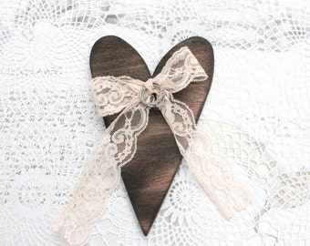 HEART RING BEARER - Burned Wooden Heart Ring bearer with Lace Rustic Vintage Woodland Natural Wedding country, decoration ornament