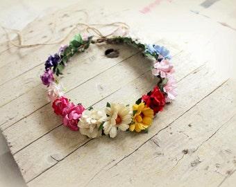IRIS Crown - Halo Floral Crown , Flower head wreath Flower Crown, multicolor headband, festival crown Summer Retro halo