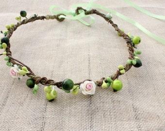 ELF CROWN - Rustic Flower Hair Wreath, Hippie Headband. Flower Crown, Bohemian Flower Wreath, Tiara, Whimsical floral head piece