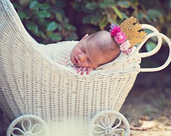 Floral Lace Crown Flower Lace crown Gold Baby Crown, Regal Golden Lace Crown, Baby Photo Prop, Newborn Photo Pink Fuchsia Purple Marshmallow