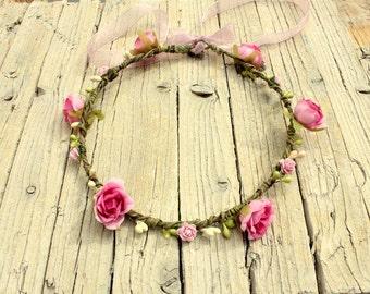 AZALEA Pink crown - Whimsical crown pink halo Wreath for Flower Girl Fairy Headdress floral headband Woodland Wedding Birthday photo prop