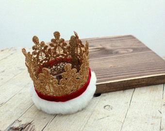 SANTA CLAUS Crown Baby Santa Claus Christmas Fur lace crown headband Baby Christmas Crown Christmas Headpiece mini top hat Christmas hat