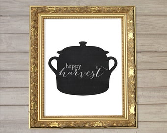 Happy Harvest Kitchen Blackboard Wall Chalk Art Printable- 8x10- Thanksgiving Autumn Fall Pot and Pans Instant Download Home Room Decor