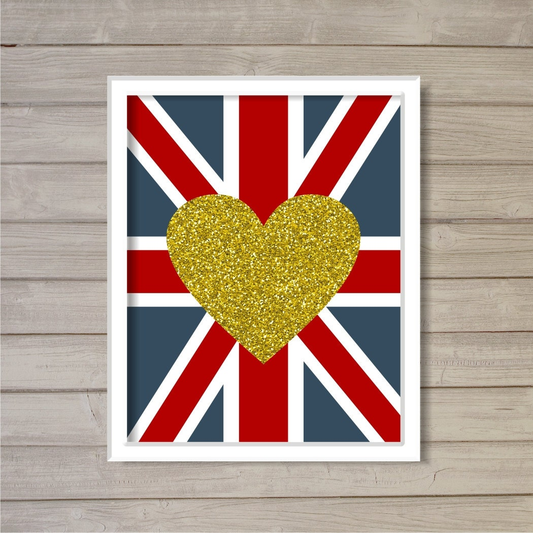 Love Union Jack Glitter Gold Heart 8x10 Instant Download | Etsy