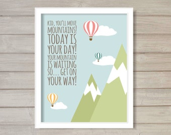 Kid You'll Move Mountains Nursery Wall Art Printable 8x10- Instant Download Hot Air Balloon Cloud Sky Blue Baby Room Decor
