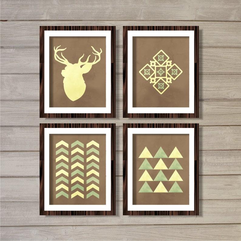 Deer Tribal Art Print Set of 4 - Brown 8x10 - Instant Download Printable  Watercolor Chevron Native American Living Room Home Decor