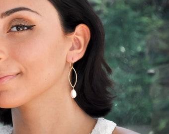 Bridal Swarovski pearl teardrop earring with gold finish- aNella Designs