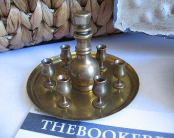 vintage Brass Miniature doll house Tea set Decanter Goblets Tray metal metallic FREE SHIPPING USA