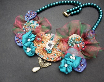 Evening in Paris Butterfly & Pearl Bib Necklace