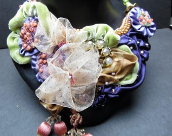 Womans Fabric and Beaded Bib Necklace
