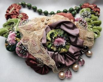 Woman's Velvet, Brocade & Satin Beaded Crystal Bib Necklace