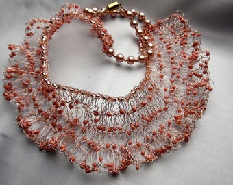 Pink Wire Crochet Necklace