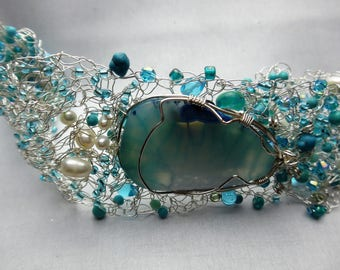 Turquoise Wire Wrapped Wire Crochet Beaded Bracelet
