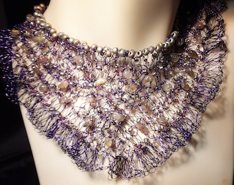 Woman's Stormy Night Crochet Wire Beaded Necklace