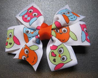 Owl Hairbow, Orange, Pink, Blue and Green--Girls hairbow--Toddler Hairbow--Back to school bow