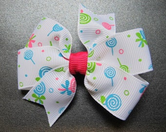 Lollipop Hairbow, Pink, Blue and Green--Girls hairbow--Toddler--Summer-- Hairbow--Back to school bow