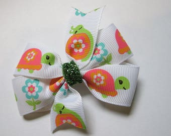 Turtles and Snails Hairbow, Orange, Pink  and Lime--Girls hairbow--Toddler Hairbow--Back to school bow