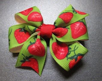 Strawberry Hairbow, Red and Green--Girls hairbow--Toddler--Pinwheel Bow--Summer-- Hairbow--Back to school bow