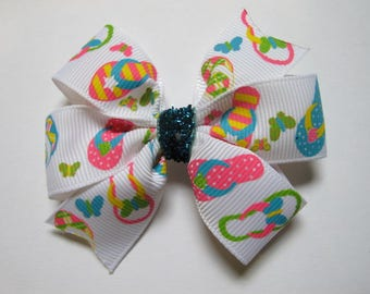 Flip Flop Hairbow, Pink, Blue, Yellow  and Lime--Girls hairbow--Toddler--Pinwheel Bow--Summer-- Hairbow--Back to school bow