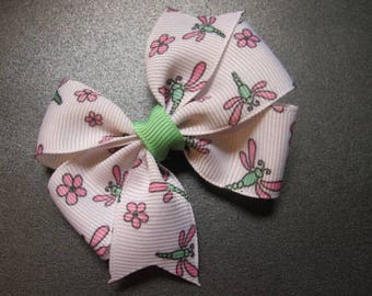 Dragonfly Hairbow, Pink and Mint--Girls hairbow--Toddler--Pinwheel Bow--Summer-- Hairbow--Back to school bow
