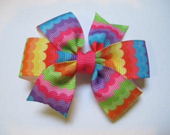 Bright Rainbow Hairbow, Purple, Hot Pink, Turquoise and Yellow--Girls hairbow--Toddler--Pinwheel Bow--Summer-- Hairbow--Back to school bow