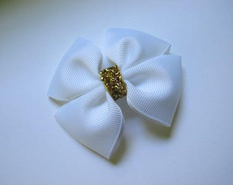 White and Gold Bow--Girls Hairbow--Holiday Bow--Toddler Bow--Back To School Bow--Party Hairbow