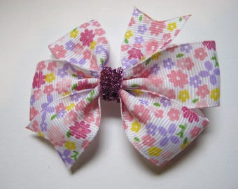 Flower Hairbow, Pinks, Purple, Yellow--Girls hairbow--Toddler Hairbow--Back to school bow