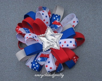 Patriotic Loopy Bow, 4th of July Bow, Red, White and Royal Blue