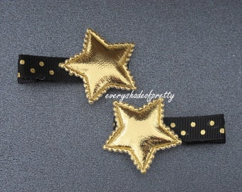Gold Star Hair Clips, Black and Gold Star Clips--Gold Stars--Girls Clips