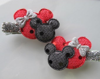Mouse Ears--Black and Red -Silver Glitter  Hair Clip--girls Hairclips--Piggy Clips--Toddler clips