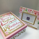 First Birthday Time Capsule Keepsake Box with Frame to match your Birthday Invitation