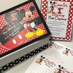 1st Birthday Time Capusule Keepsake box -CUSTOM  Mickey Mouse Theme with Framed Instructions and Instructions to print
