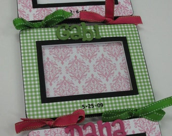 Triplet Frames - Damask and Gingham to match decor