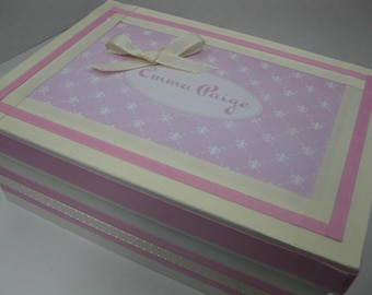 Personalized Cream and Pink Fleur Di Lis and PinkKeepsake Box