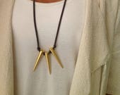 Suede Necklace|Gold Charm...