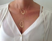 Gold Lariat Necklace, Y N...