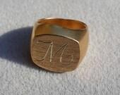 14K White Gold Ring, Engr...