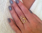 Gold Ring, Flower Ring, D...