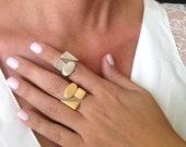 Sterling Silver Ring, Geo...