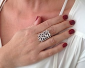 Wave ring, silver wave ri...