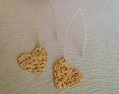 Gold Heart Earrings, Dang...