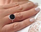 Unique Silver Ring, Black...