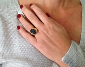 Solid Gold Ring, Druzy Ri...