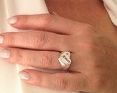 Silver Heart Ring, Heart ...