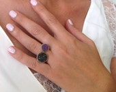 Two Stone Ring, Pearl Rin...