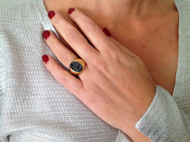 Oval Ring Gemstone Ring Druzy Ring Unique Ring Cocktail Ring Nature Ring Statement Ring Black Crystal Ring Gold Statement Ring
